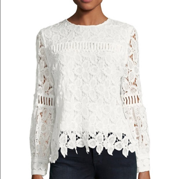 be4c511213e Neiman Marcus Long Sleeve Floral Lace Top